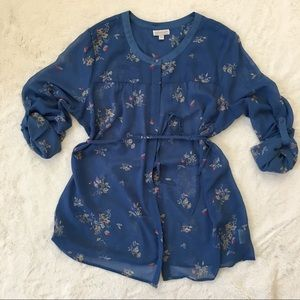 A Pea in the Pod blue floral button down blouse